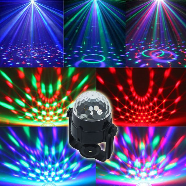 Free shipping Best Promotion Mini RGB LED Crystal Magic Ball Stage Effect Lighting Lamp Party Disco Club DJ Light Show US Plug