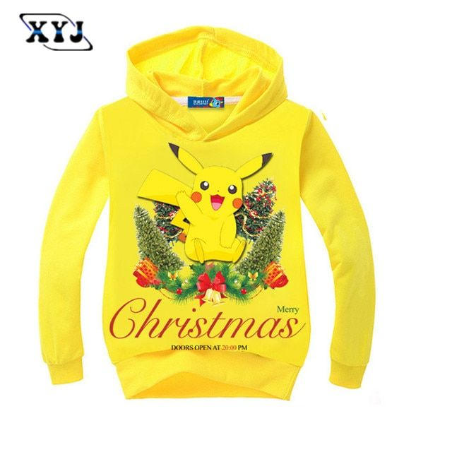 2016 Autumn Girls Sweatshirt Merry Christmas Pokemon Long Sleeve T-shirt Kids Hoodie Sweatshirt Pikachu Clothing For Baby Boys