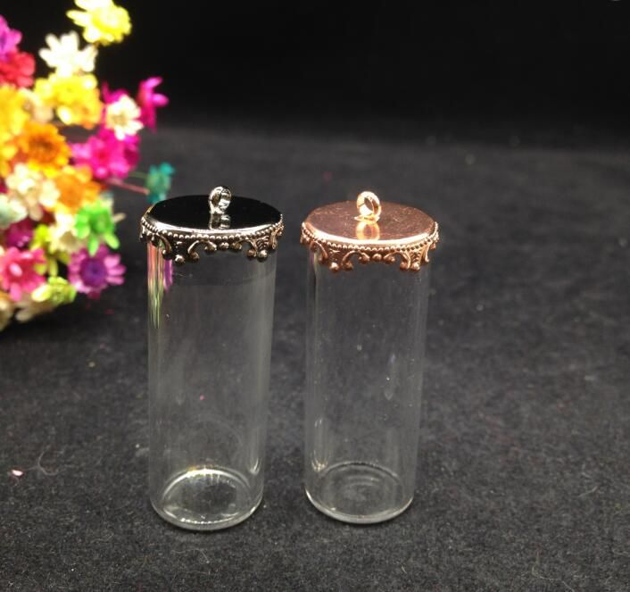 3sets/lot 40*15mm Mini Glass Tubes crystal Tube with flower cap ,Hollow Glass bottle hand blown, for necklace pendant jewelry