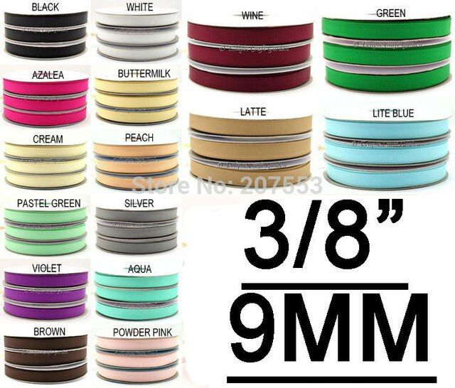 "3/8""(9mm) Solid Color Grosgrain Ribbon 100yards/roll 100% Polyester Wedding For DIY Band Tape"
