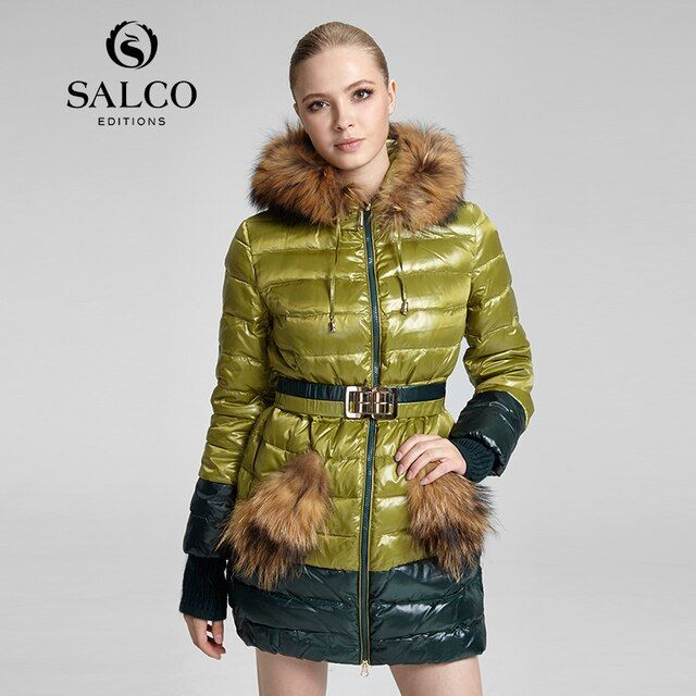 SALCO Free shipping In 2016 the new ms raccoon wool Russian monopoly hooded down jacket coat