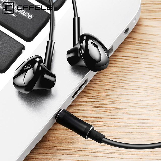 CAFELE Professional In-Ear Earphone Metal Heavy Bass High fidelity Sound Quality Music Earphone with microphone for Mobile Phone