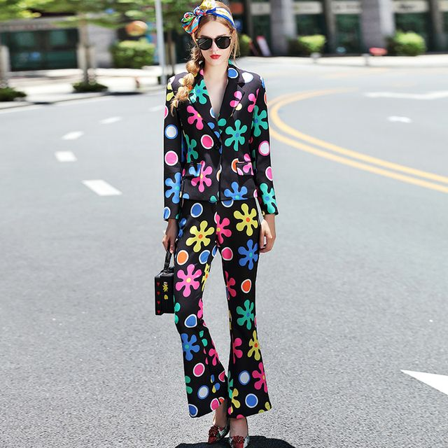 2016 Autumn Runway Designer Pants Suit Set Women's Fashion Long Sleeve Print Blazer Jakcet+Flare Pants Set 2 Piece Clothing Sets