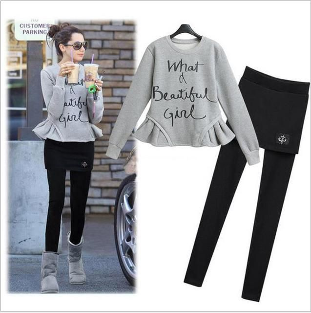 Women's Sets Jackets Women's Clothing 2016 autumn winter new European style casual fleece sweater with Slim skirts leisure suit