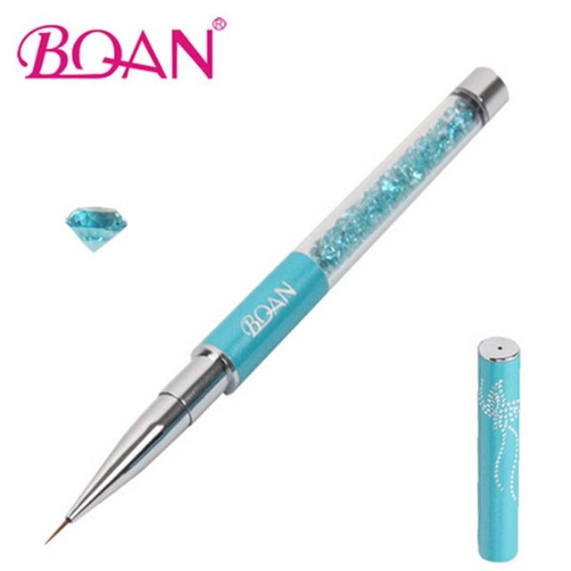 BQAN Nail Brush Ultra-thin Line Draw Pen Blue Rhinestone Nail Art Paint Brush Flowers Drawing Nail Liner Design Manicure Tool