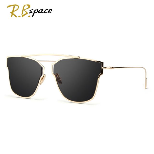 RBspace New Women 5 Colour Luxury Cat Eye Sunglasses Women Sunglasses Double-Deck Alloy Frame UV400 cool Glasses woman oculos