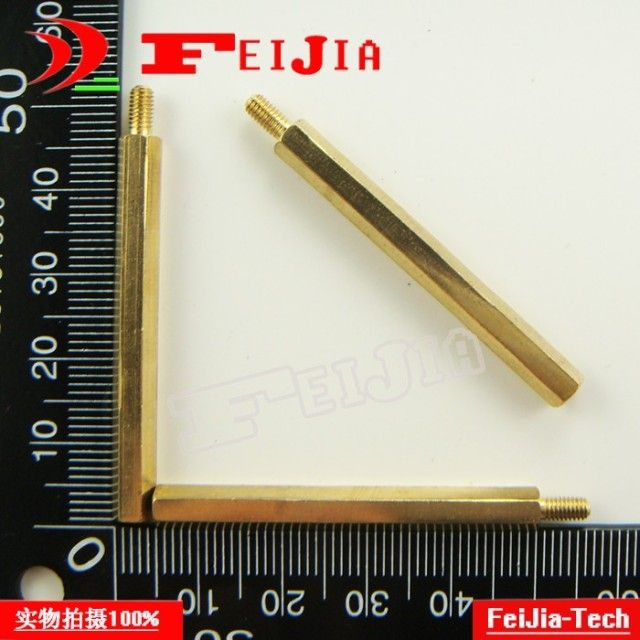 50pcs/lot M3*45mm+6 copper pillars 45mm high M3 Hexagonal column Hardware Fasteners Bolts
