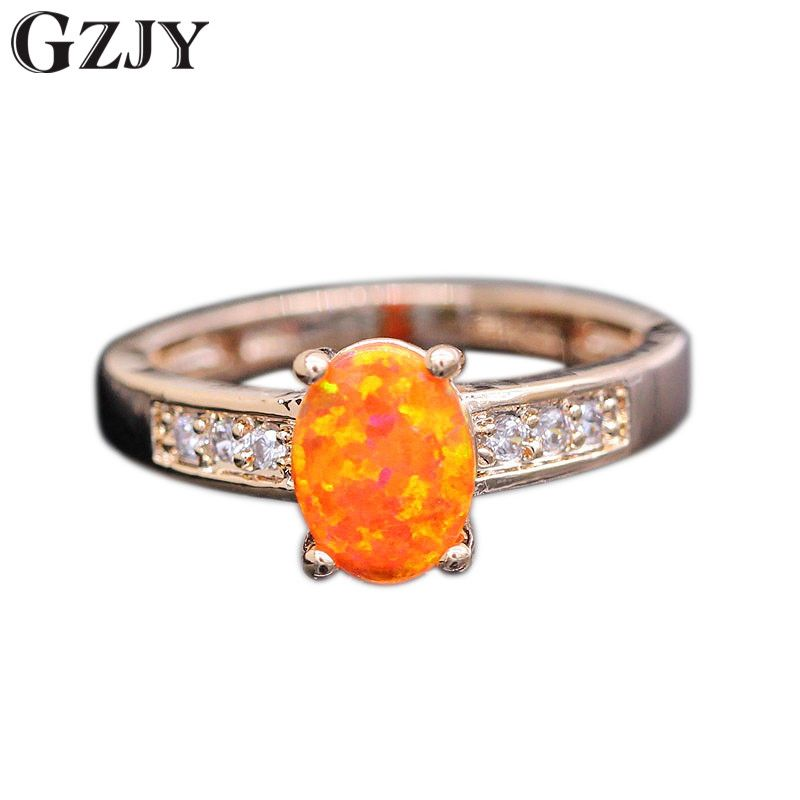 GZJY Best Gift Beautiful Charming Orange Fire Opal Gold Color Wedding Ring For Women Anniversary Jewelry