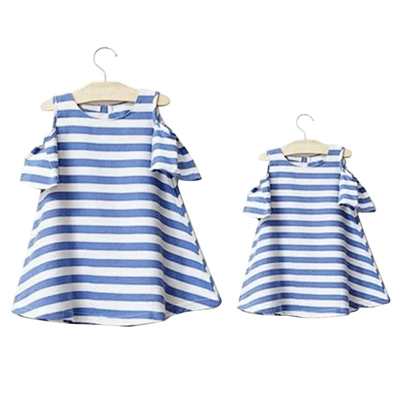 Blue Striped Cotton Linen Short Casual Knee-Length Matching Mother Daughter Dresses Clothes Family Clothing 48% OFF