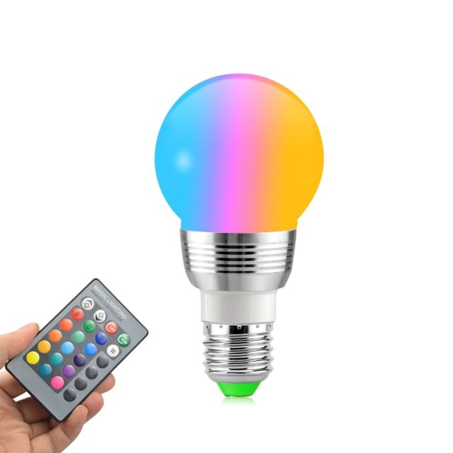 1 X New Full Color 6W RGB E27 LED Bulb AC 85-265V LED Spotlight + IR Remote Controller For Disco DJ Party Holiday Dance lamp