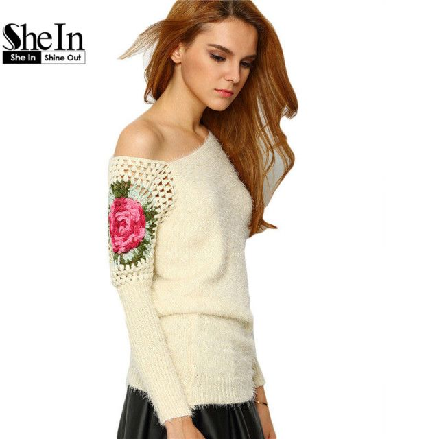 SheIn Women's Floral Embroidery Crochet Asymmetrical Knitting Pullovers Spring 2016 Apricot Round Neck Loose Knit Sweater