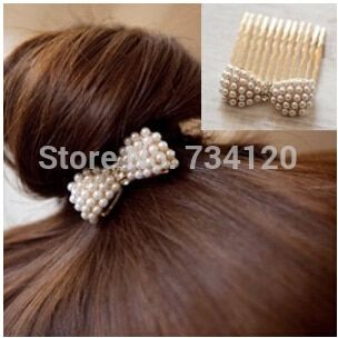 mix wholesale hot Fashion imitation pearl Bow Hair Accessories gold color  Plated Rhinestone Hairpin Hair Comb Korean Jewelry