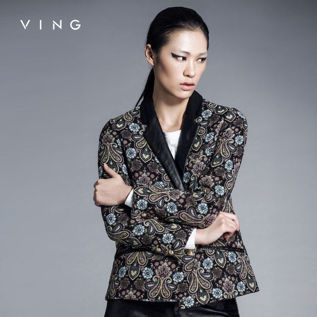 Ving New Arrival Women Jacket Vintage Blazer Leather Patchwork Lapel Collar Floral Pattern One Button Slim Blazer Faminions