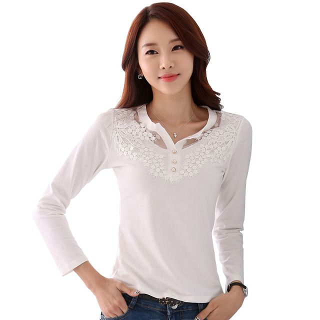 Korean Womens Tops Fashion 2016 Fall White Lace Patchwork Long Sleeve T Shirt Women Vintage Top Tee Shirt Femme Tshirt Camisetas
