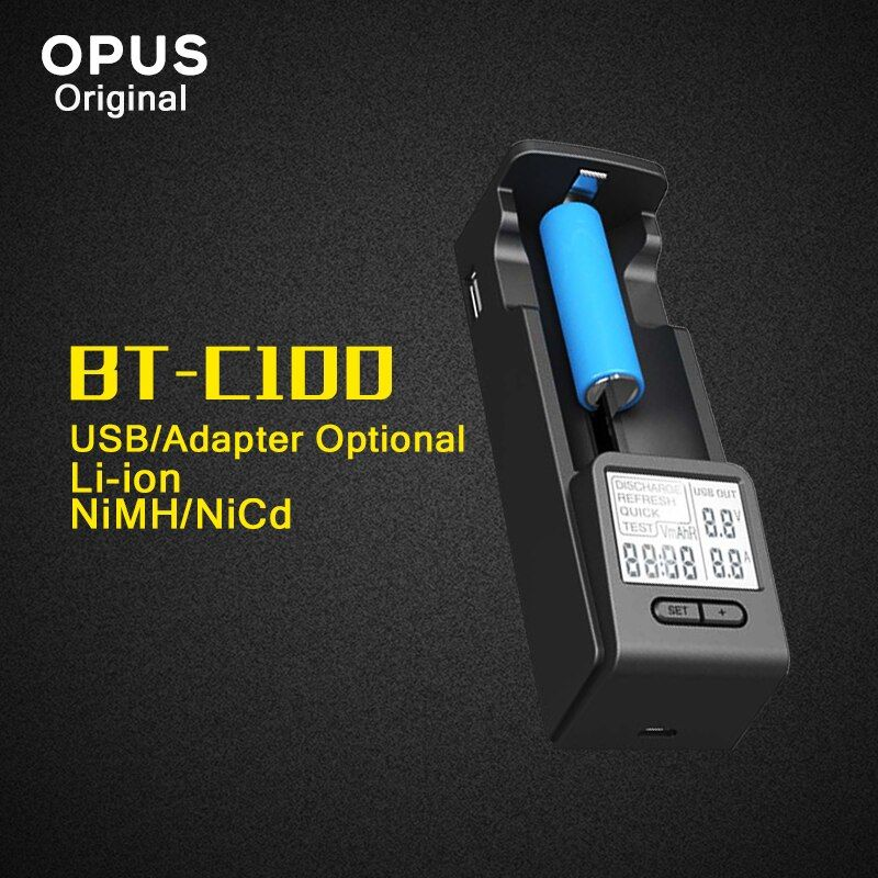 Original Opus BT-C100 Intelligent Battery Charger with LCD Display for LI-ion NiMh AA AAA C D 26650 18650 14500 10440 26650