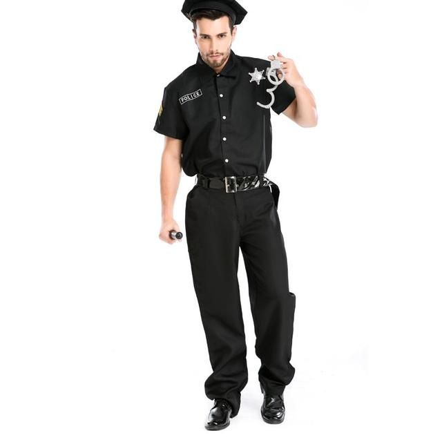New Design  men sexy Halloween  police costume instructor Role-play Profession Costumes Black Cool Latex Catsuit A155803