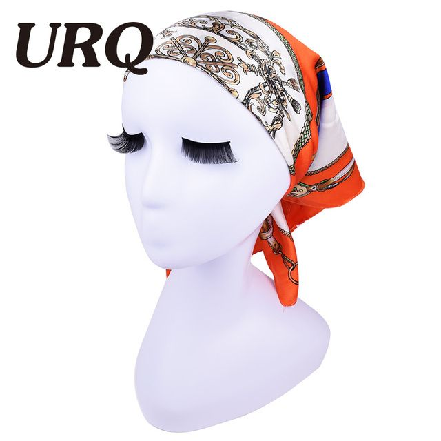 Hot Sale New Arrival 60*60 Satin Square Silk Scarf Women Brand Polyester bandana hanker chief head hijab S6A6555