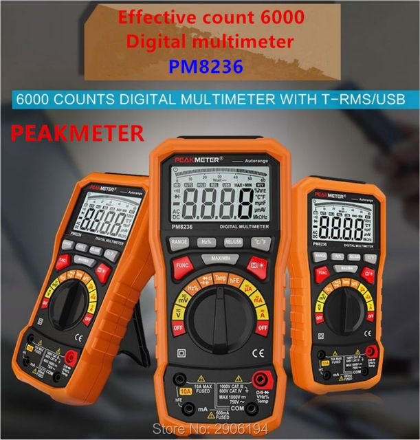 PEAKMETER PM8236 Auto manual Range Digital Multimeter with TRMS 1000V Temperature capacitance frequency Test