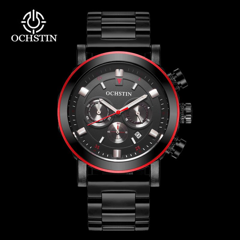 OCHSTIN Men Business Watches Waterproof Chronograph Watch Man Steel Sport Quartz Wrist Watch Men Clock Male Black Red 2019