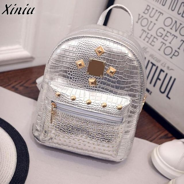 2018 new college wind schoolbag washed leather backpack Women Gold Velvet Small Rucksack Backpack School Book Shoulder Bag