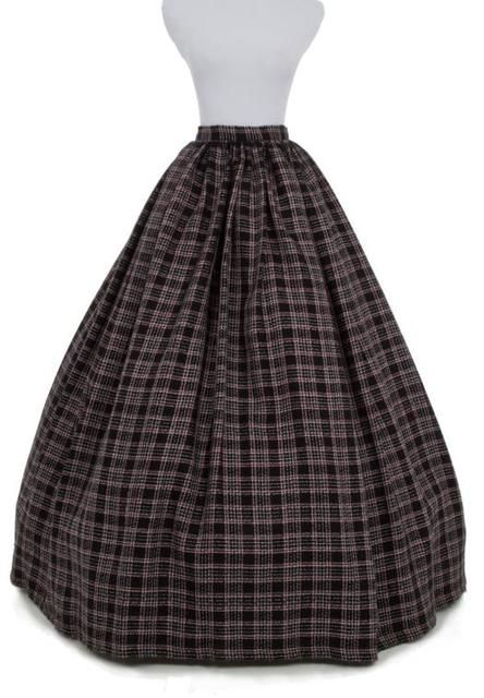 Promotion New Arrival None Plaid Fashion Microfiber Wool Knee-length Shipping Long Victorian Skirts Ball Gown