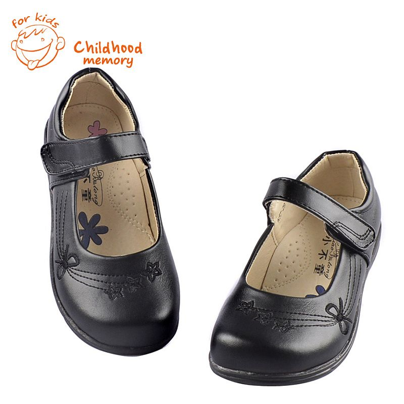 Baby Girls Leather Shoes Classic Black School Performances Baby Uniform Shoes Spring  Shoes For Baby Girl Flower  European Style