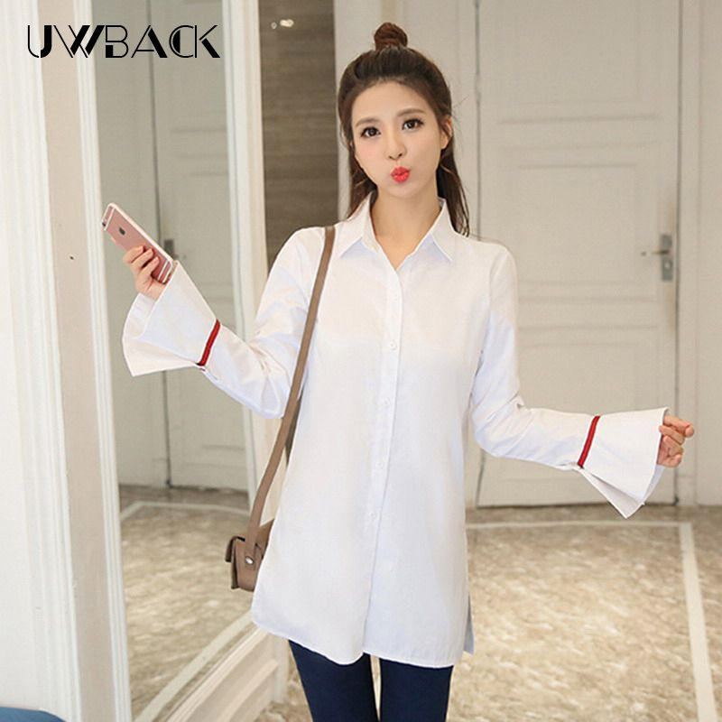 Uwback 2017 Fashion Women Flare Sleeve Shirt Long Design White Top Casual Turn-down Collar Office Shirt, DBB001