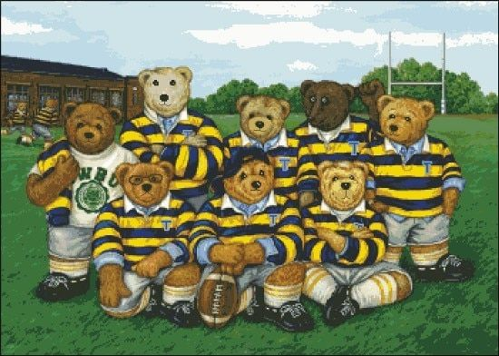 Fishxx Cross Stitch Kits A1938 teddy bear rugby team photo patterns 11CT embroidery 100% Egyptian cotton on needlework kit diy