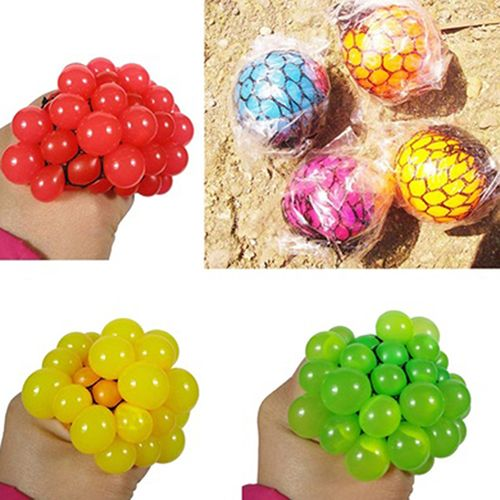 Novelty Hand Wrist Exercise Squeezing Toys Stress Relief Squeeze Ball Grape Shape Random Color