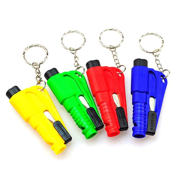 Outdoor EDC tool Mini Pocket Glass Window Breaking Safety Hammer Emergency Escape Rescue Tool  Keychain Seat Belt Knife Cutter