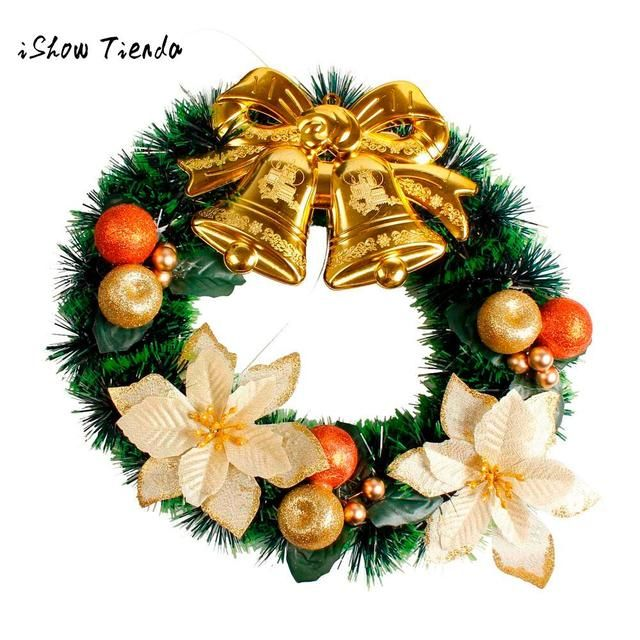 DIY Merry Christmas Wreath 35cm Garland Window Door Decorations Bowknot Ornament Holiday Decor Girls Wreaths Props New Year Gift