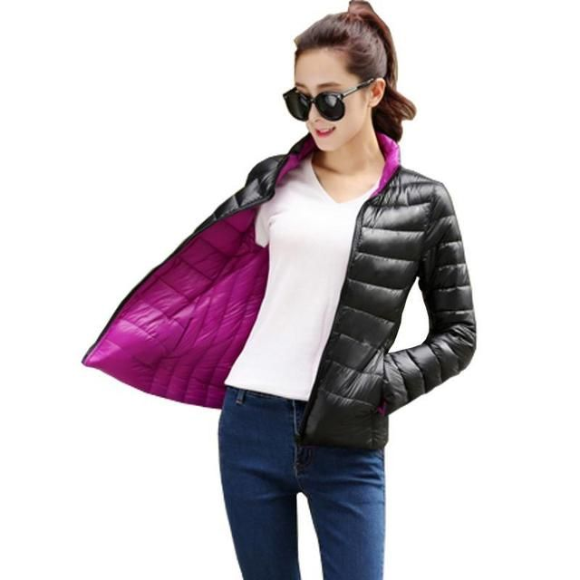 Overcoat Femme Stand Collar Slim Short White Duck Women Ultra Light Down Jacket Casual Padded Coat Mujer Woman jacket