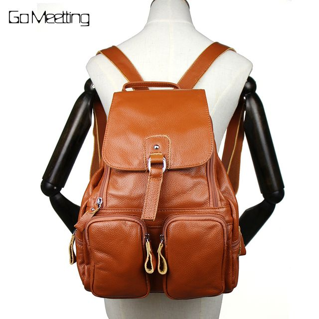 Go Meetting Genuine Leather Women Backpack Cowhide More Than Pocket Women School Bag High Quality Travel Backpacks bolsa mochila