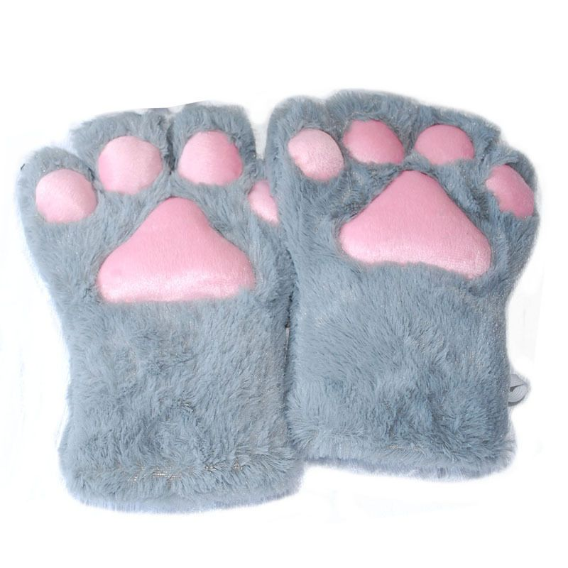 1 Pair New Women Girls Lovely Winter Warm Fingerless Gloves Fluffy Bear Cat Plush Paw Claw Half Finger Gloves Mitten
