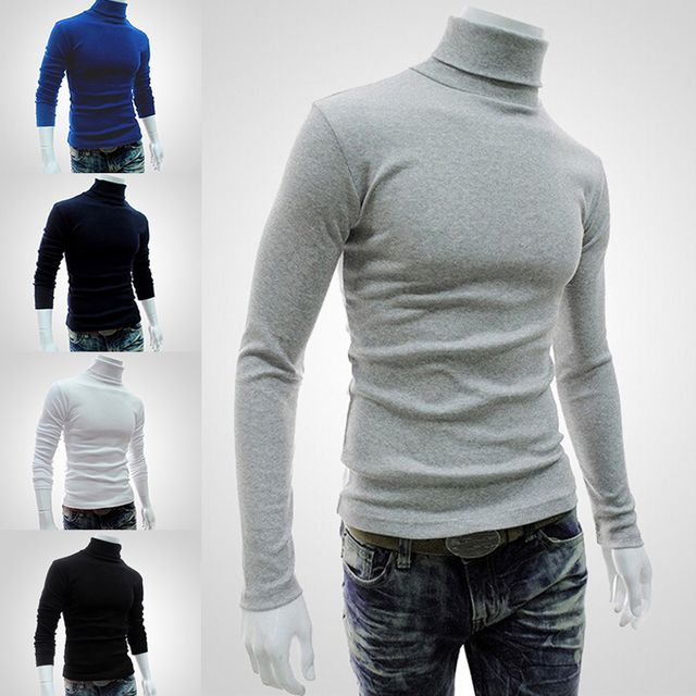 Turtleneck sweater period and the new men's high collar sweater thin cultivating male sleeve head bottom Long-sleeved 2017