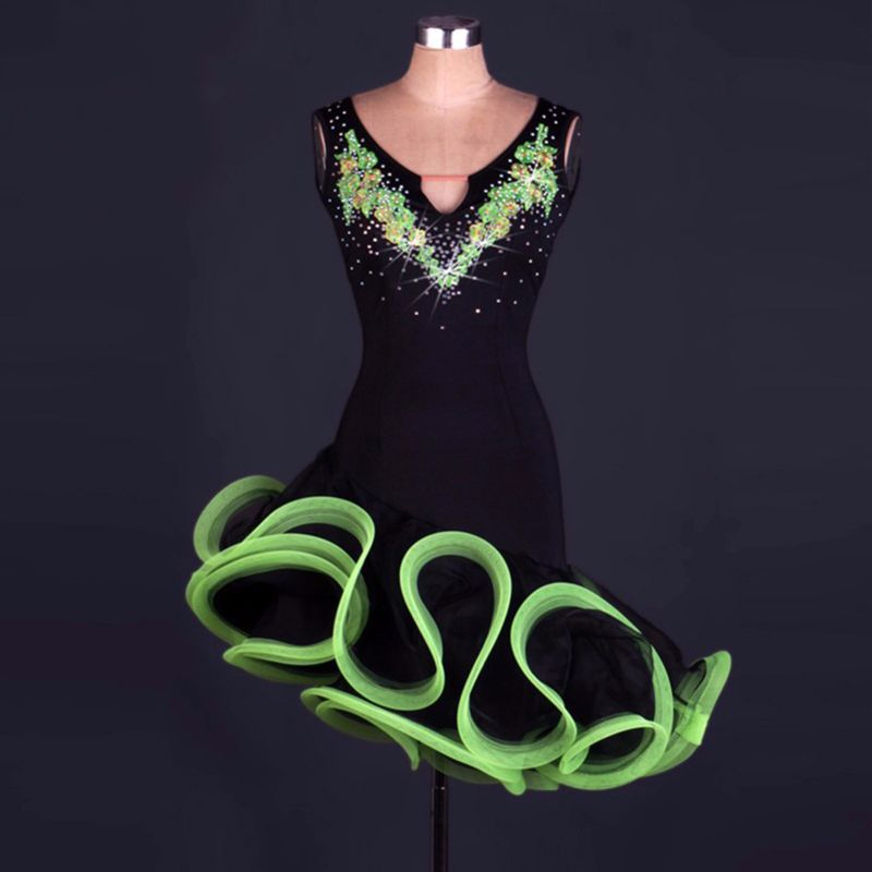 New!!! Latin dance costume senior sexy latin dance dress women latin dance competition dresses 4 colors  DQ13101