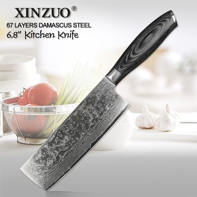 XINZUO 6.8 inch kitchen Slicing knife 67 layers VG10 Damascus steel chef knife Japanese style woman chef knife pakka wood handle