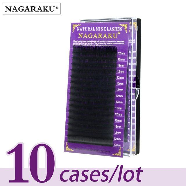 NAGARAKU  10 cases/lot High quality mink eyelash extension individual eyelashes natural eyelashes make up fake false eyelashes