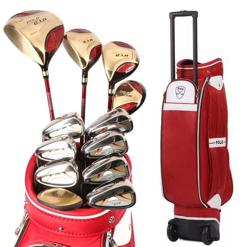 Authentic Polo Golf Club Complete Sets Trolley Tugboat Bag Female Full Left Beginners Rod Golf Ball Bag Cue Kit Wood Iron Clubs
