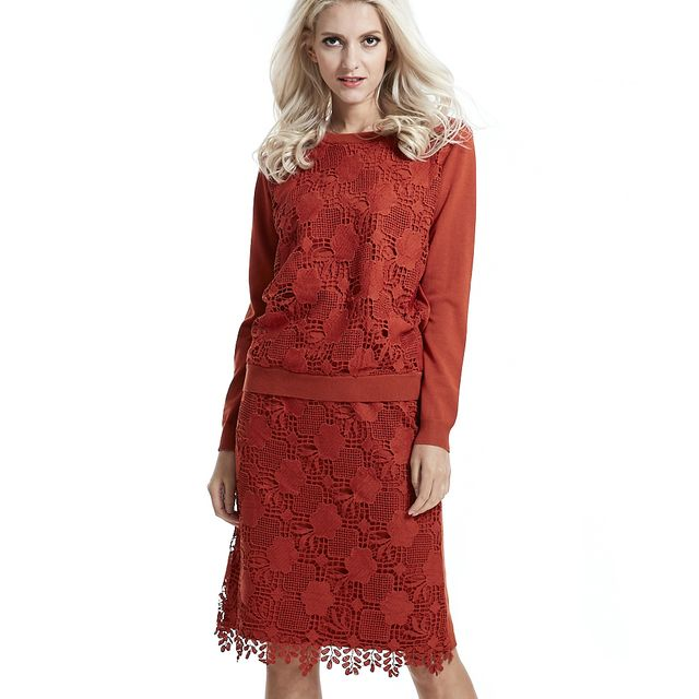 new fall &winter fashion women 2016 dress autumn winter 2 piece set women ladies quality lace hollow sweater dress female slim