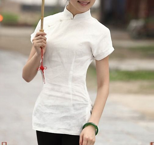 Shanghai Story New arrival woman chinese traditional top chinese style cheongsam top traditional Chinese Linen blouse