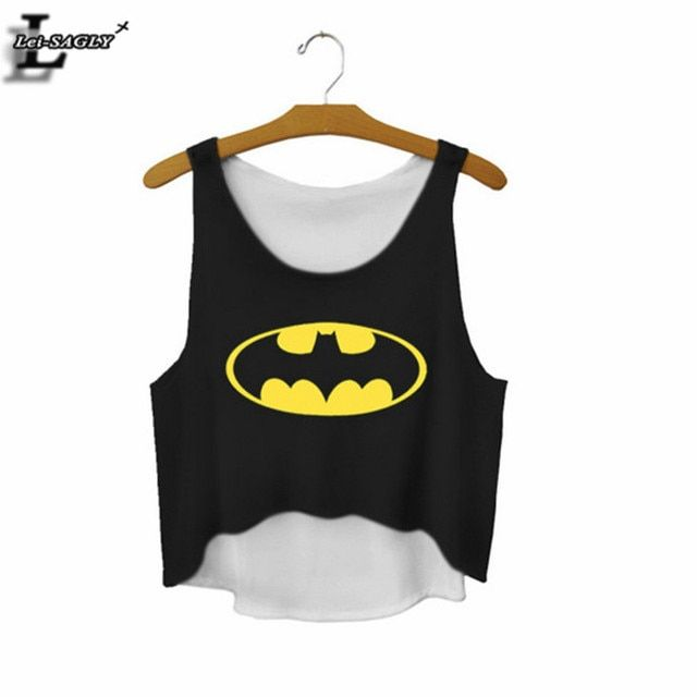 The Batman Sign Cartoon Printed Black Crop Tops Summer Style Elastic Cute Sexy Tank Top Fitness Women Cropped  Vest F669