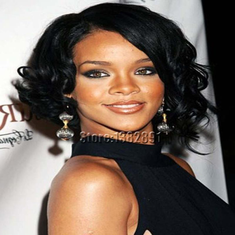 African American Short Curly Wigs Cheap Synthetic Wigs For Black Women Rihanna Style Synthetic Hair Curly Bob Wigs With Bangs