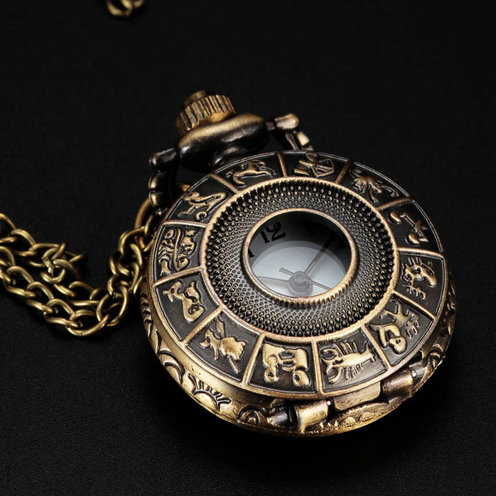 Fashion Unisex Antique Retro Small Women Lady Fob Watch SteamPunk Style Constellation Zodiac Pocket Watch Pendant Necklace