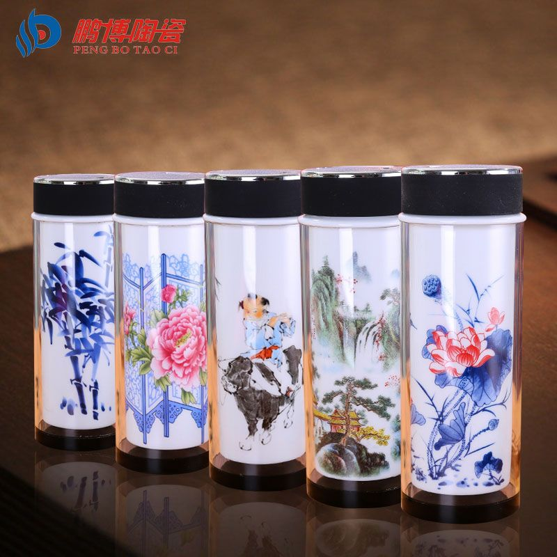 Chinese Unique Double Wall Glass Thermal Insulation Tea Cup Ceramic  Vacuum Flasks My Water Bottle Insulated Cups Vehicle Cup
