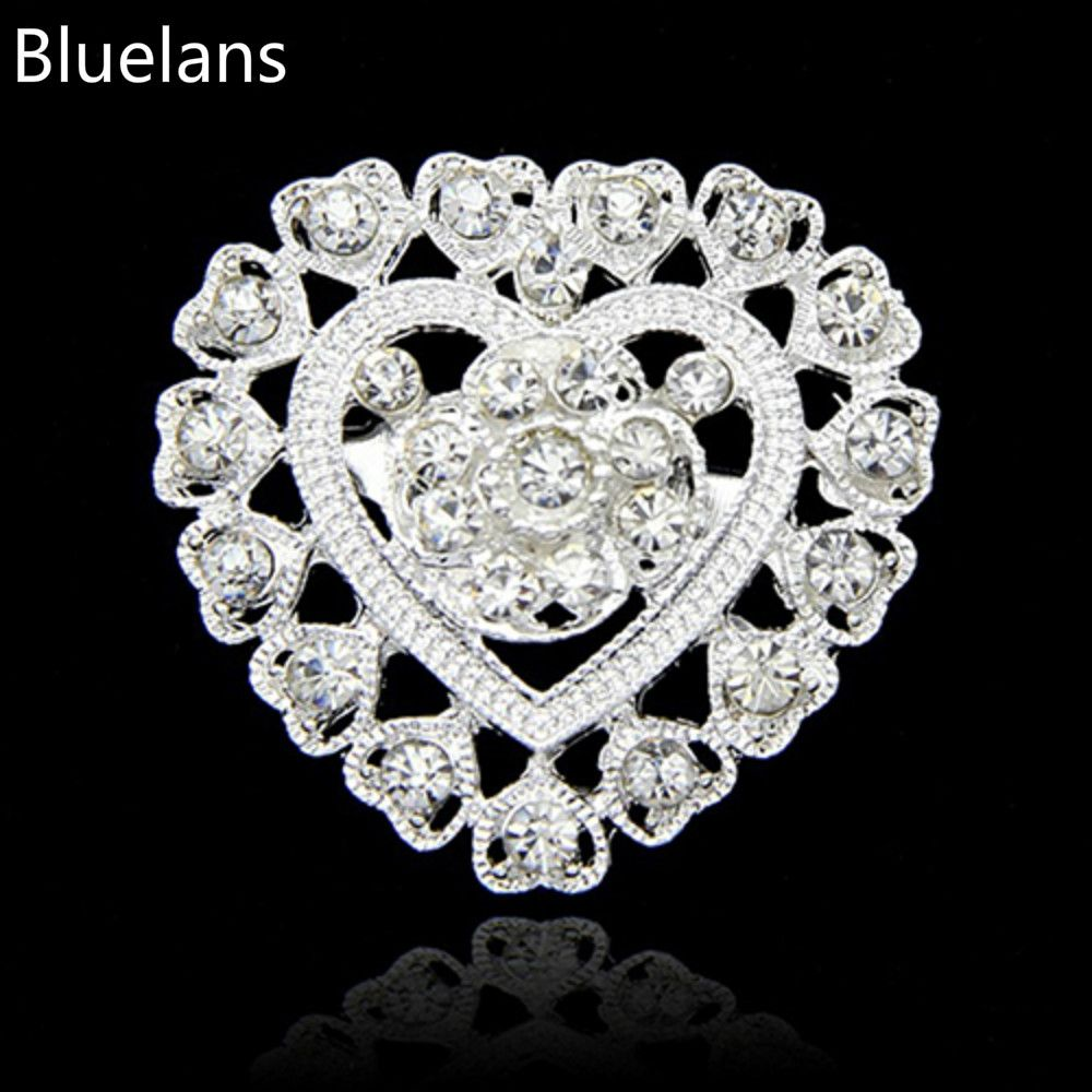 Fashion Flower Heart Rhinestone Silver Plated Brooch Pins Wedding Bridal Brooches for Women Christmas New Year Decoration Gifts