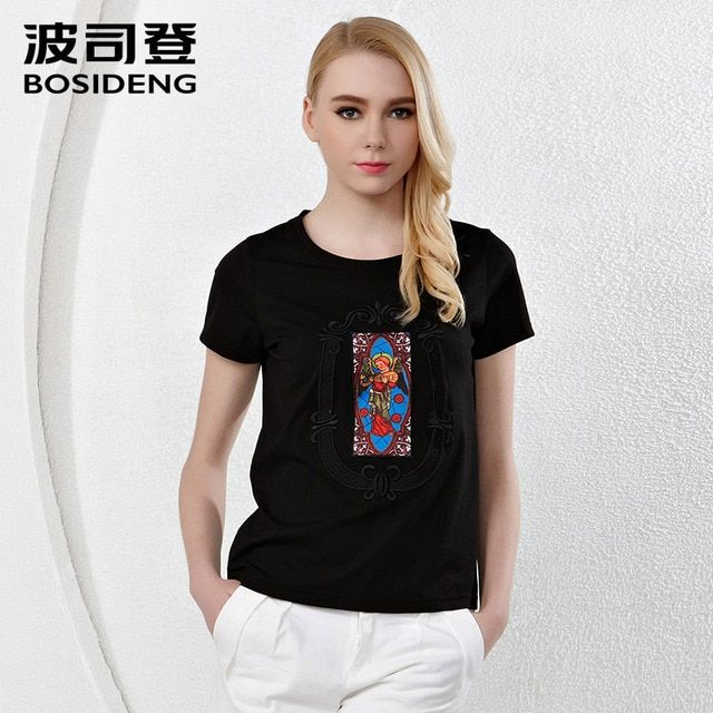 BOSIDENG summer women's clothing women T shirt black white Indian print O-neck short sleeve ethnic top small size  B1502004