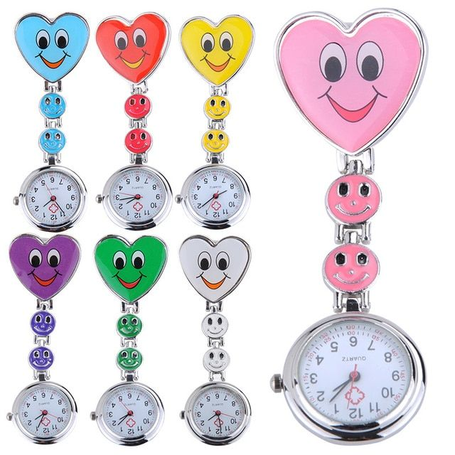 Pocket Watch Kids Cute Watch Heart Shape Cartoon Smile Face Nurse Watch Clip On Fob Brooch Quartz nurses watch fob