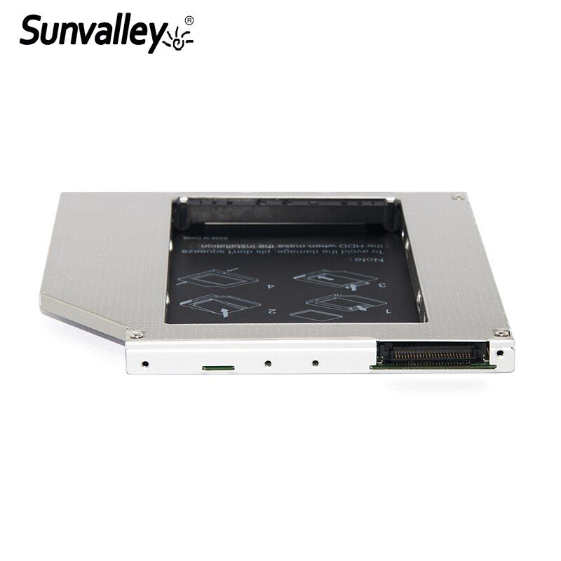 Sunvalley Hard Drive Case 9.5mm Slim Universal IDE to SATA 2nd SSD Caddy SSD Aluminum DVD/CD-ROM Optical Bay For Laptop
