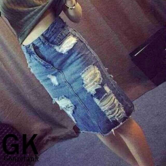 Gonzetank 2017 New Women Ladies hollow hole fashion fringed Pack Hip jeans Blue Shorts Size S-3XL
